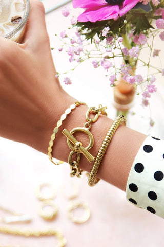Bangle roze steen goud
