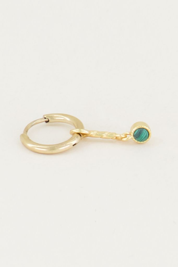 One piece oorring groene malachite & bolletje goud