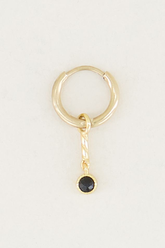 One piece oorring zwarte onyx & bolletje goud