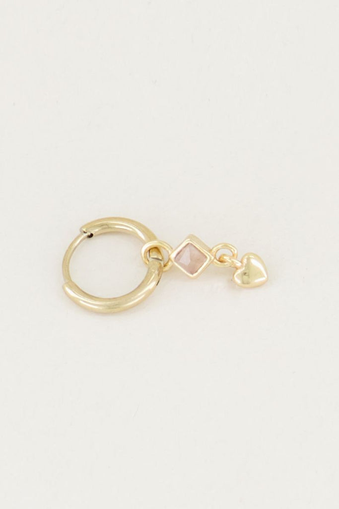 One piece oorring roze quartz & hartje goud