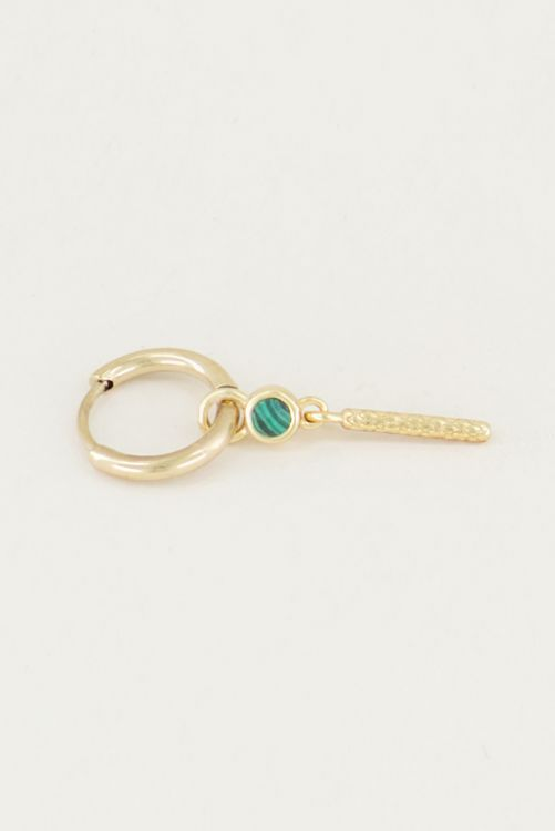 One piece oorring groene malachite & staafje goud
