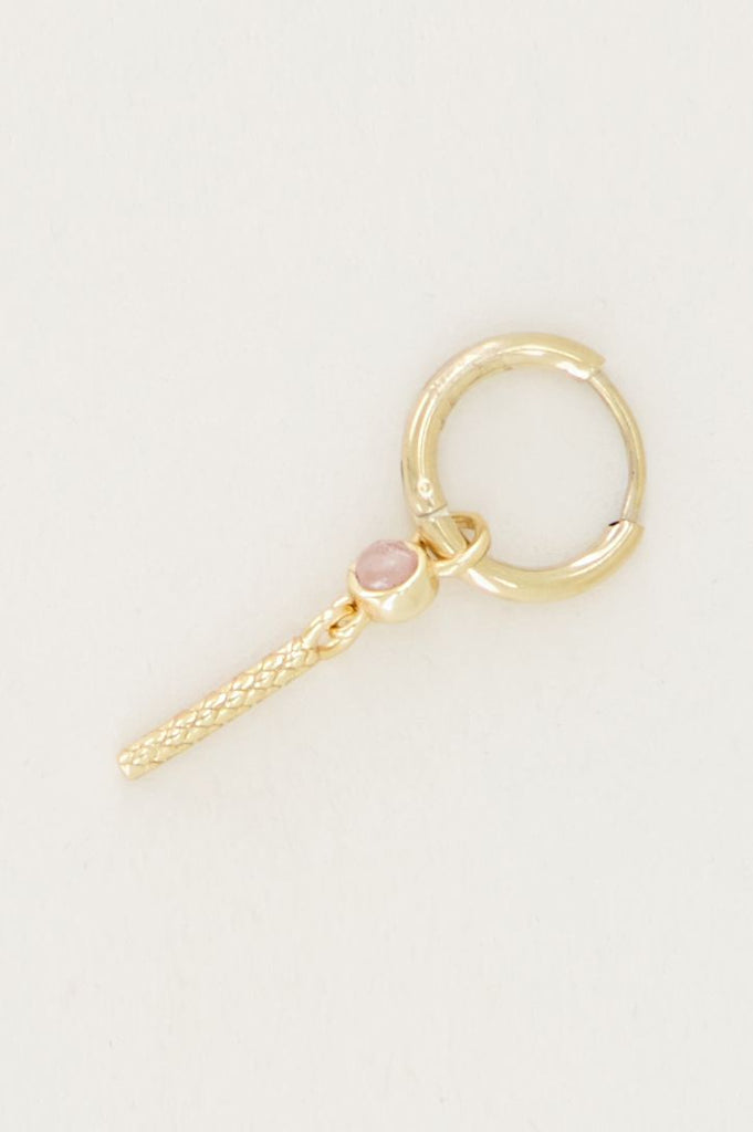 One piece oorring roze quartz & staafje goud