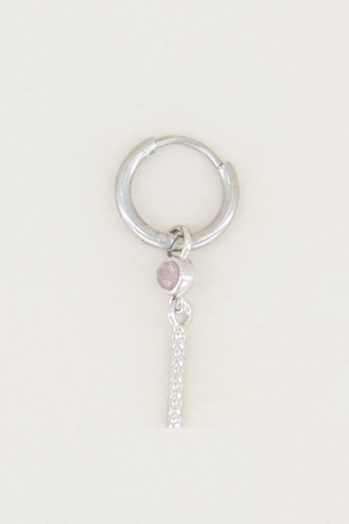 One piece oorring roze quartz & staafje silver