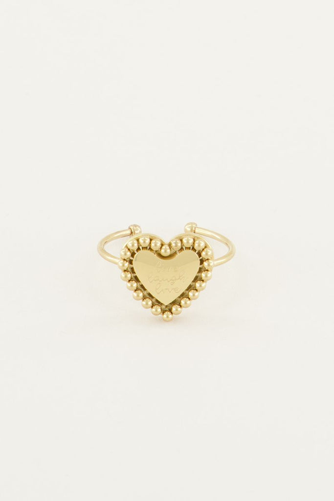 Ring live laugh love hartje goud