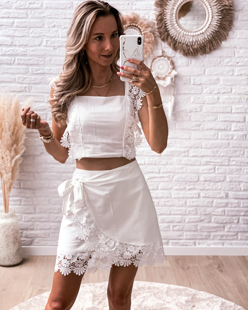 Boho lace flower set (rok + top) white