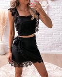 Boho lace flower set (rok + top) black STOCKSALE 20