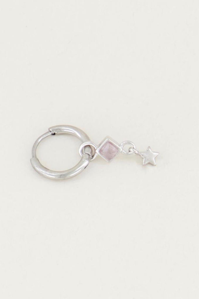 One piece oorring roze quartz & sterretje zilver