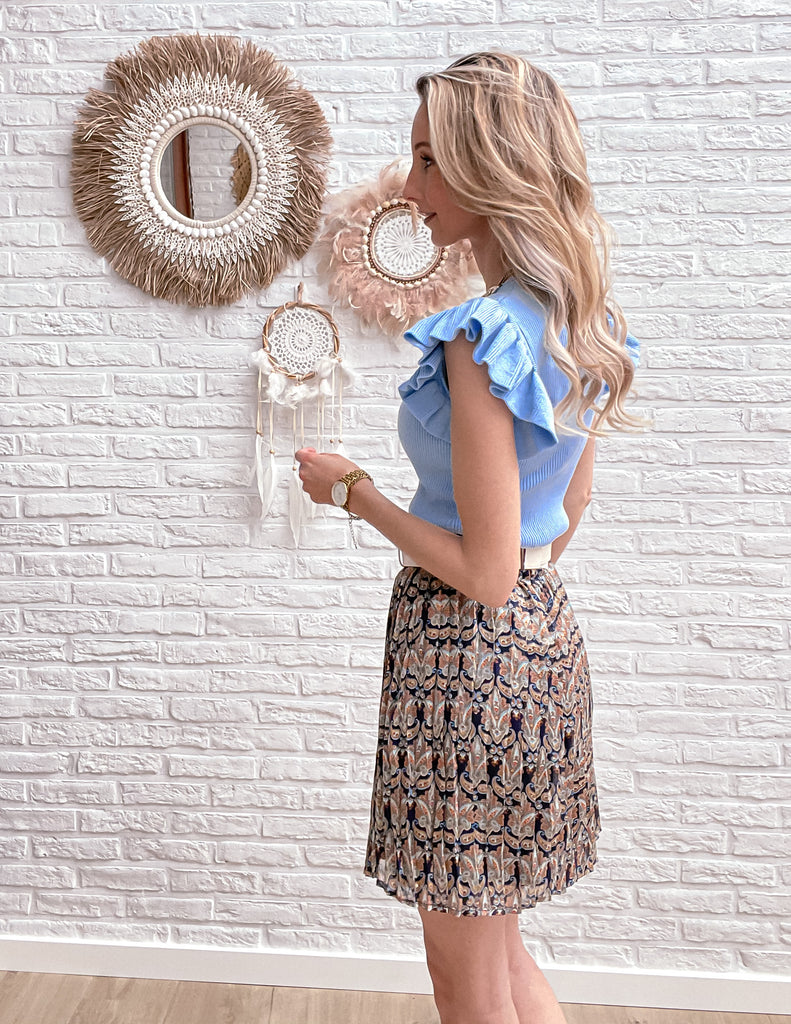 Chain ruffle top light blue