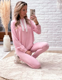 Softie homesuit set light pink (trouser + sweater)