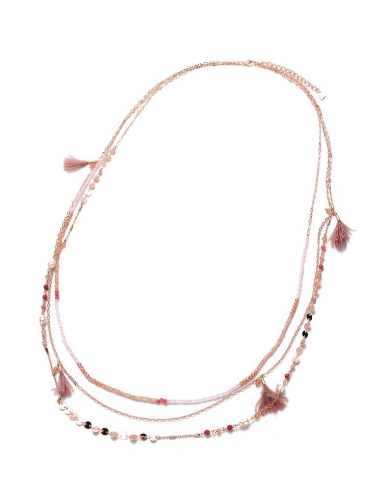 Ketting 3-delig feather pink