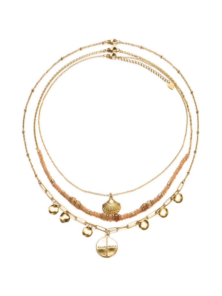 Ketting 3-delig summerparty nude goud