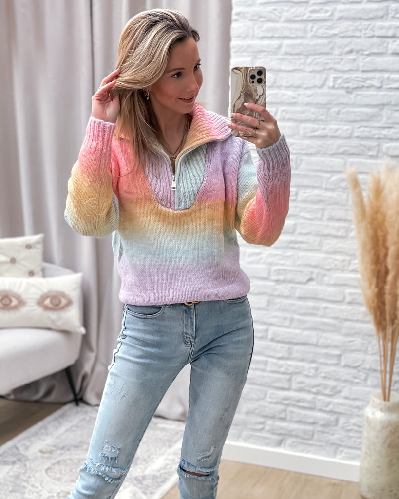 Rainbow zipper sweater