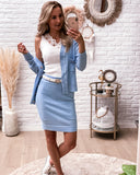 Soulmate knit set blue (vest + rok) STOCKSALE 20