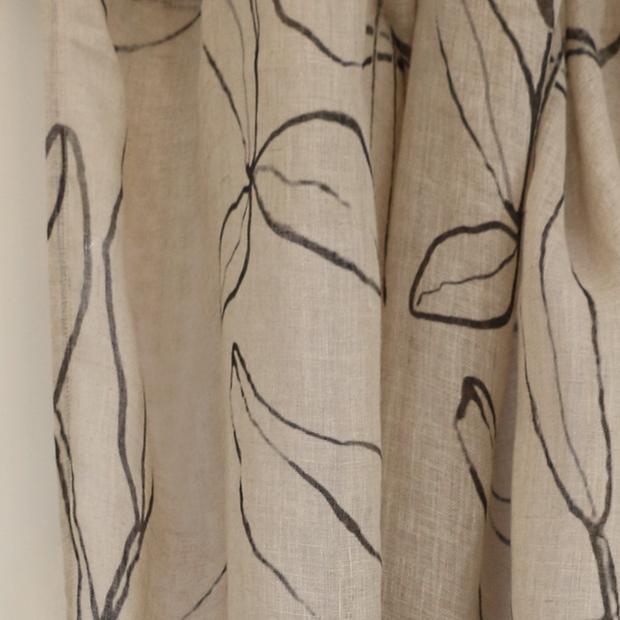 Linen leaf sketch curtains AF8000
