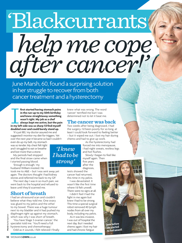 'Blackcurrants help me cope after cancer'