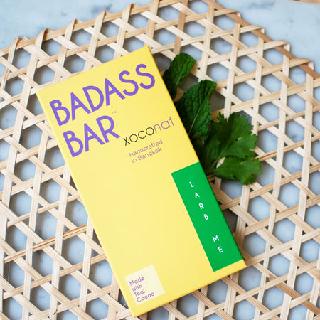 Larb Me Badass Bar: (New!) Vegan Thai Larb Caramel in 65% Roasted Rice Dark Coconut Milk