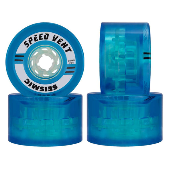 Seismic Speed Vent 85mm 75a clear blue longboard wheel