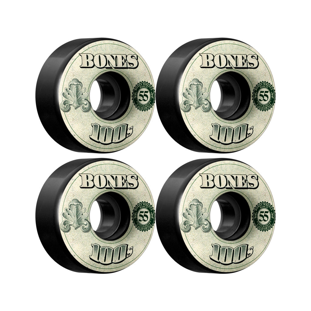 Bones OG 100's Black OG Formula 55mm skateboard wheels