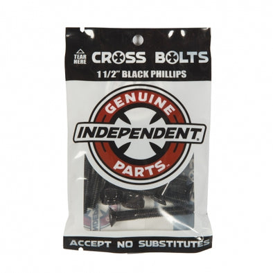Independent 1.5 inch black allen countersunk skateboard bolts