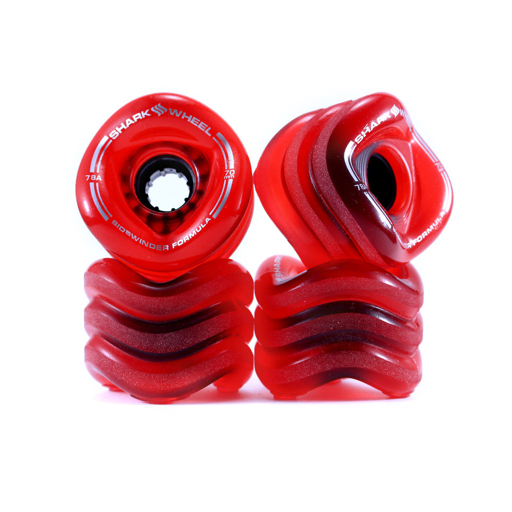 Shark Wheel 70mm Transparent-Red Sidewinder longboard wheels