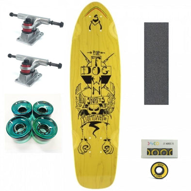 "Dogtown Dominate yellow 28"" mini cruiser with blue wheels"