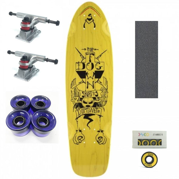 "Dogtown Dominate yellow 28"" mini cruiser with purple wheels"