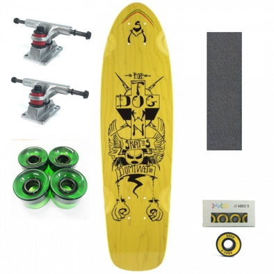 "Dogtown Dominate yellow 28"" mini cruiser with green wheels"