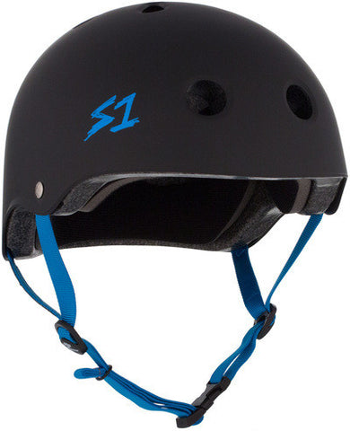 S1 Lifer Helmet in Matt Black with Cyan straps