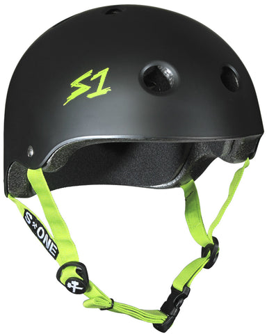 S1 Lifer Helmet in Matt Black with Green straps