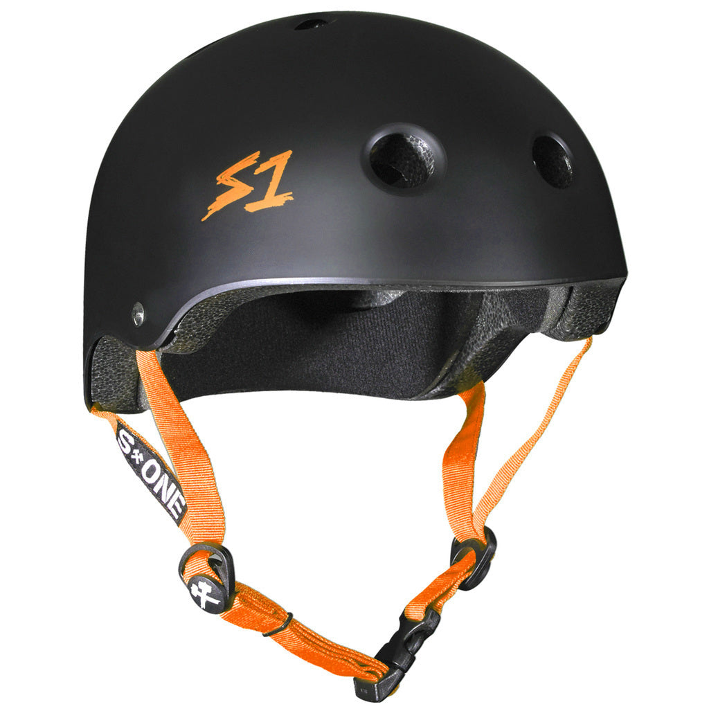 S1 Lifer Helmet in Matt Black with Orange straps