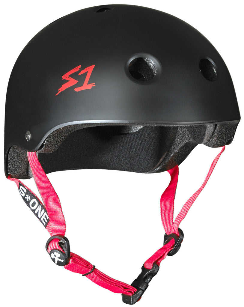 S1 Lifer Helmet in Matt Black with Red straps
