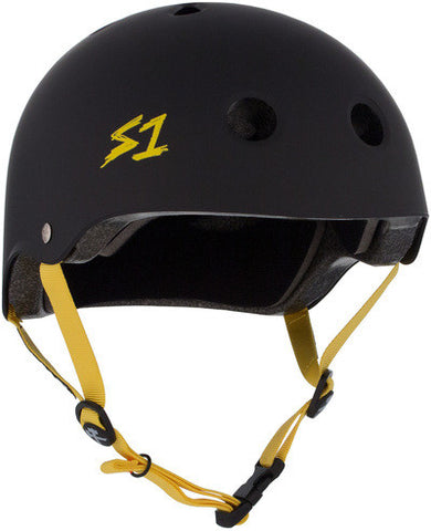 S1 Lifer Helmet in Matt Black with Yellow straps