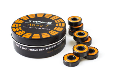 Type S ABEC 7 skateboard bearings with orange shields