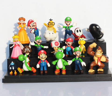 18pcs/set Super Mario Bros yoshi dinosaur Peach toad Goomba PVC Action Figures toy