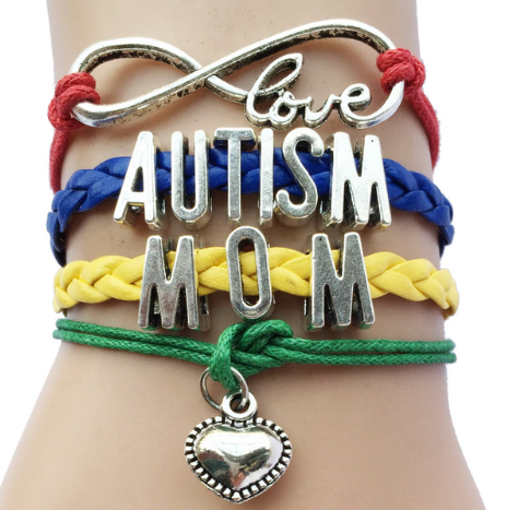 Infinity Love Autism Mom Awareness Heart Charm Leather Handmade Bradied Bracelet - Factory 46