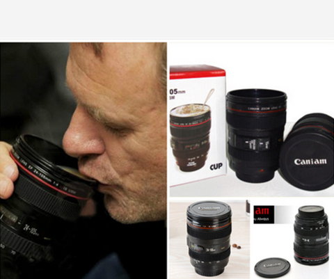 Coffee Lens Emulation Camera Mug Cup Beer Cup Wine Cup Black Plastic Cup & Caniam Logo - Factory 46