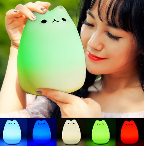 Colorful 7 Colors Cat LED Children Animal Night Light Silicone Soft Cartoon Baby Nursery Lamp Breathing LED Night Light USB