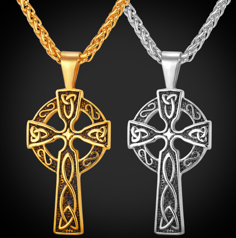 Celtic Christian Jewelry Stainless Steel Triquetra Viking Triple Horn Of Odin Celtic Cross Male Necklaces & Pendants