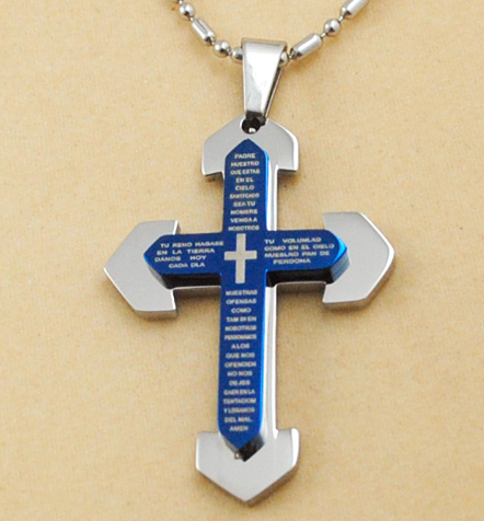 Blue Scripture Crucifix Necklace Religious Women Men Cross Pendant Christian Jewelry New