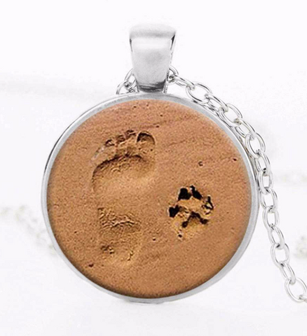 DOG LOVER NECKLACE Dog Paw Pendant Paw Print Jewelry Paw and Footprint Pendant Gift for Dog Lover