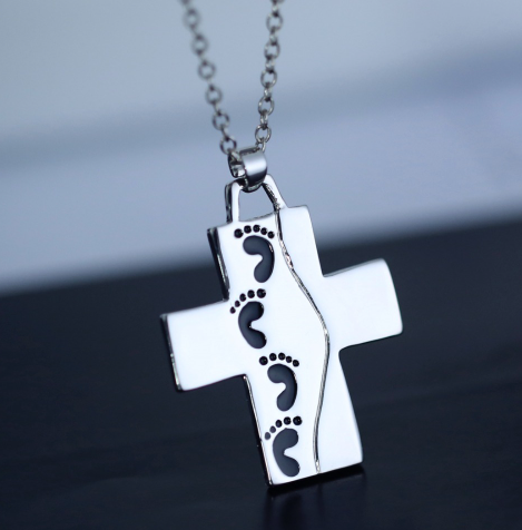God Said On Back Footprints Cross Pendant Necklace Cool Silver Plated Prayer Cross Necklace Christian Jewelry For Women Men Kids