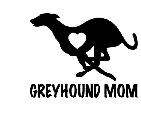 9CM Greyhound Mom Love Heart - Dog Puppy Vinyl Decal Motorcycle Car Sticker Black/Sliver - Factory 46