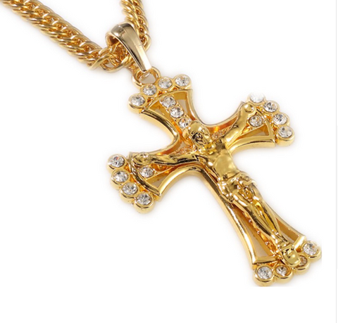 Delicate Chain Hip Hop Rapper Cool Jesus Christian Cross Pendents Long Necklace Men Gold Chain 18k Plated Jewelry