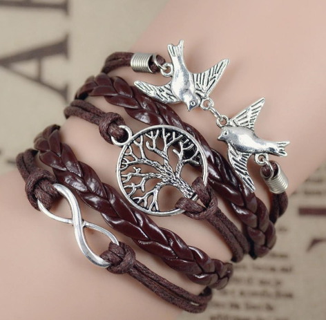 New Infinity Love Leather Love bird Leaf Charm Handmade Bracelet Bangles Jewelry Friendship Gift Items