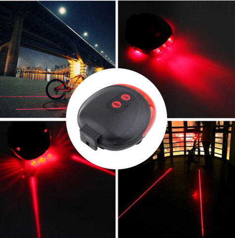 5 LED 2 Laser Bike light 7 Flash Mode Cycling Safety Bicycle Rear Lamp waterproof - Factory 46