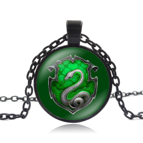 Harry Potter Hogwarts Slytherin Necklaces & Pendants Art Collage 25mm Glass Cabochon Pendant Movie Jewelry Chain Necklace