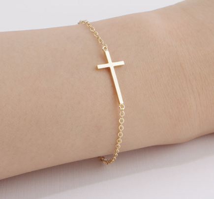 Faith Christian Cross Bracelet Fashion Stainless Steel Sideways Cross Bracelet Horizontal Cross Bracelet