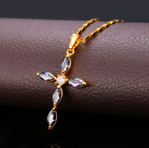 Luxury Cubic Zirconia Cross Necklace Christian Jewelry Women Gift Platinum/Gold Plated Chain & Cross Pendant