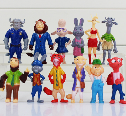 12pcs/lot Zootopia Cartoon Utopia Action Figure Movie Pvc Mini Models 7-8.5cm Nick Fox Judy Rabbit Dolls Toys Collectible Gifts