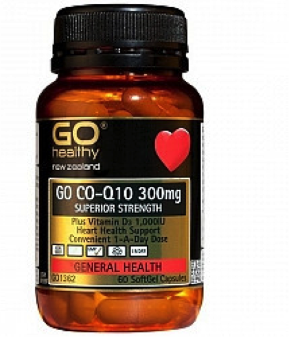 GO Healthy Co-Q10 300mg + Vitamin D3 60 caps